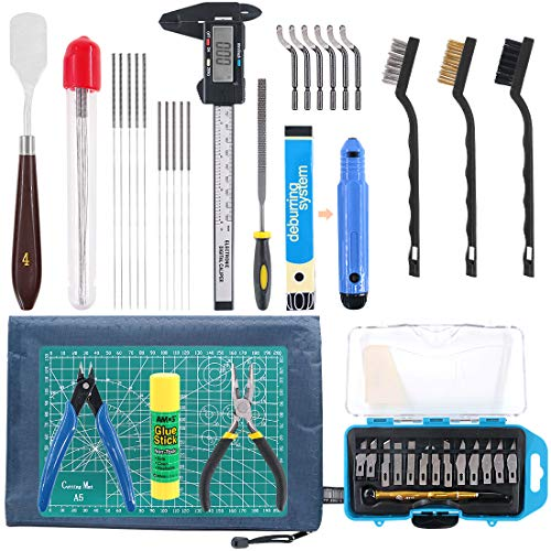 Rustark 42 Piece 3D Print Tool Kit Includes Debur Tool, Cleaning and Removal Tool with Storage Bag, 3D Printer Tool Set…