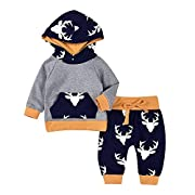 2PCs Baby Deer Print Hoodies With Pocket Top + Long Pants Autumn Outfit Set (6-12M(Tag80), Grey&Yellow)