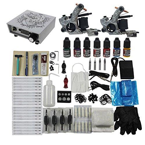 Tattoo Complete Kits Set 2pcs Tattoo Machines Guns 7 Color Ink Digital Power Supply Redscorpion