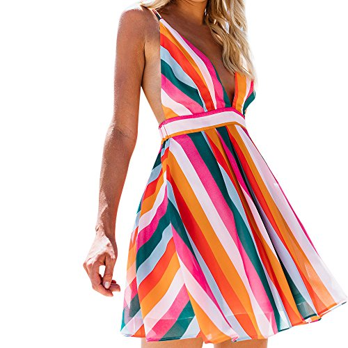 LUCA Sexy Halter Dresses for Women Color Striped Deep V Neck Blackless Sleeveless Mini Dress Beah Summer Holiday by LUCA