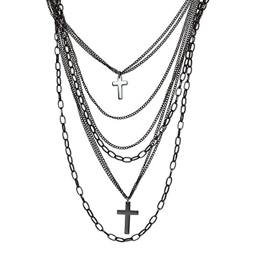 Multi Strand Black Gunmetal Plated Steel Drape Chains and Crosses 80s Gothic Punk Retro Fashion Necklace