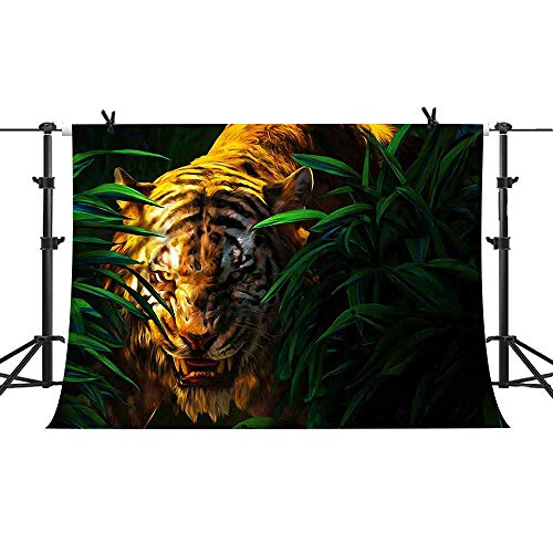 PHMOJEN Forest King Tiger Backdrop Jungle Adventure Background for Photography Computer Printed 3D Vinyl Backdrop Kids Theme Birthday Party Decoration Wallpaper 10x7ft GYPH281