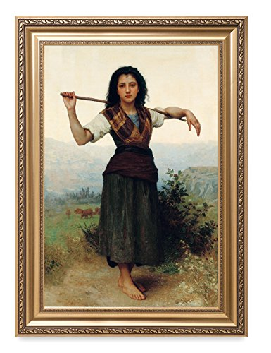 DecorArts - The Shepherdess by William-Adolphe Bouguereau. The World Classic Art Reproductions. Giclee Print& Museum Quality Framed Art for Wall Decor. Framed size: (Reproduction Body Panels)