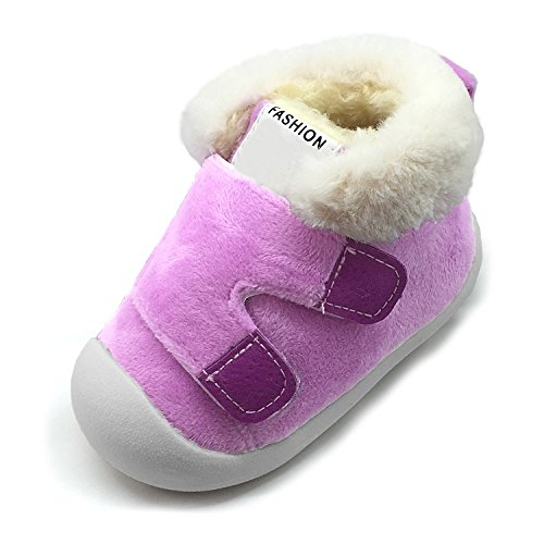 Baby Boys Girls Snow Boots Double Velcro Kids Causal Winter Shoes With Warm Fleece (4.5 M US Toddler, Purple)