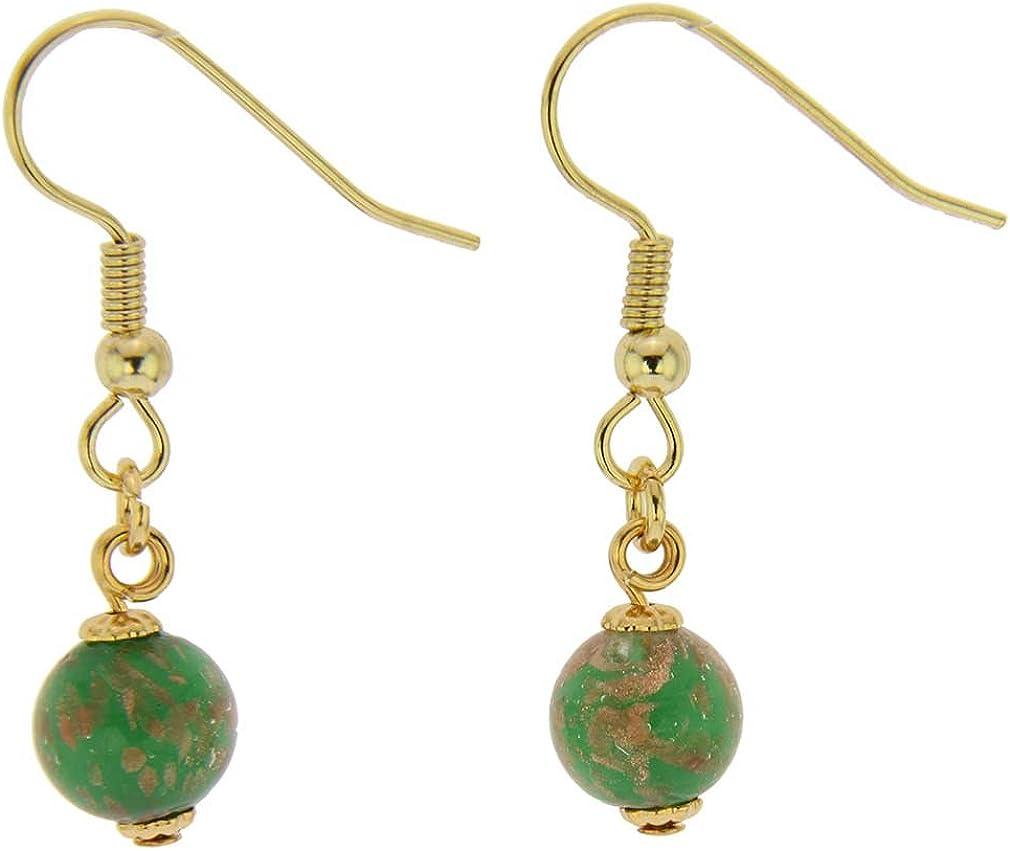 GlassOfVenice - Pendientes de cristal de Murano, diseño de estrellas, color verde esmeralda