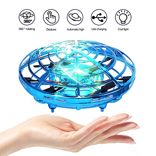 PerfectPromise UFO Flying Toys for Kids, Hand Controlled Mini Drone UFO Toy with 360° Rotating and LED Lights for Children Boys Girls-Blue