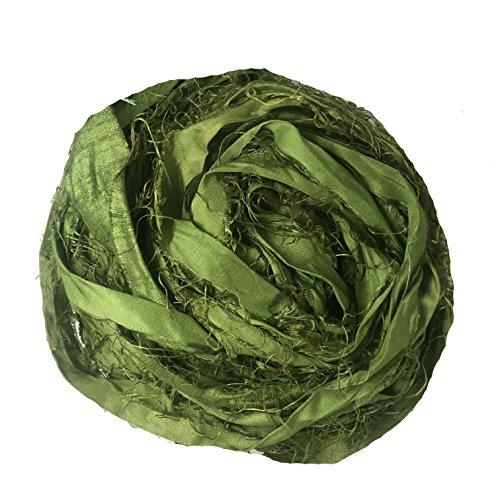KnitSilk Brand - Super Bulky Recycled Sari Silk Ribbon Yarn in Olive Green - Bottle Green Ribbon | 50 Gms - 30 Yards | Duppioni Silk Ribbon (Pack of 1)