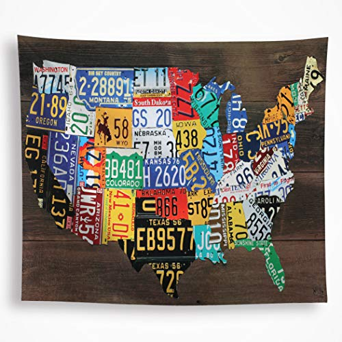 All Smiles Rustic Wood Door with Car Rustic American map Tapestry Wall Blanket Farmhouse Wall Hanging Art for Bedroom Dorm Living Room -