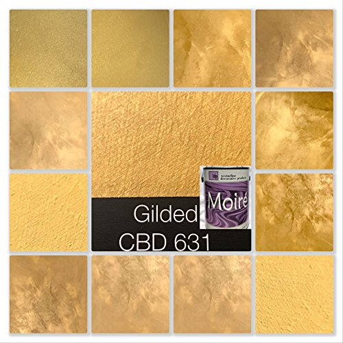 MOIRE WILD SILK DECORATIVE INTERIOR FAUX PAINTS GOLD ACRYLIC BASED METALLIC PLASTER FINE ARCHITECTURAL COATING APPLY BY BRUSH TROWEL OR ROLLER WILD SILK COLORSBYDREW (Quart GILDED GOLD CBDQ631)