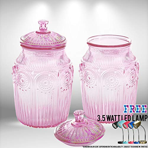 The Pioneer Woman 10.2-Inch Pearlized Canister for Homemade Treats and Dry Goods (SET OF 2) Bundled With Free 3.5 Watt LED Lamp (Luster - Canisters Luster