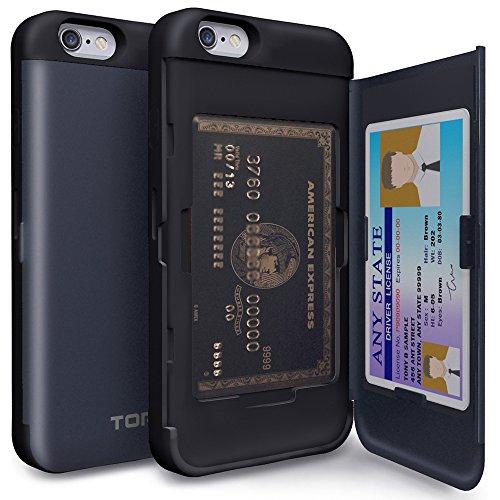 堂々たる即席多年生TORU CX PRO iPhone6Sケース カード 収納背面 2枚 IC Suica カード入れ カバ― ミラー付き (アイフォン 6S / アイフォン 6 用) - メタルスレート