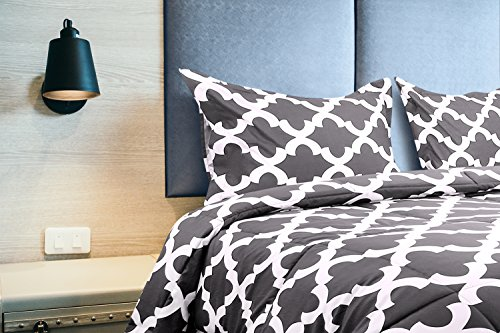 Printed Comforter Set Grey Queen with the help of 2 Pillow Shams Luxurious comfortable covered Microfiber Goose lower choice Comforter by Utopia Bedding