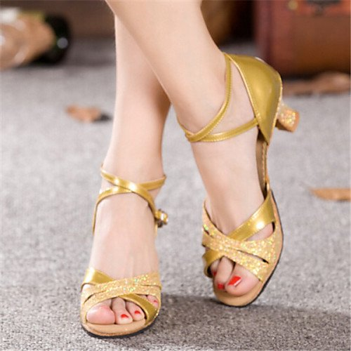 Dance Heel Shoes Q T Gold T Patent Women's Leather Gold Chunky tqA7xwOn