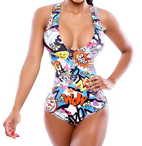 Stylebek Mengkai Women's Summer Beach One Piece Print Padded Swimsuit Multicolored Asian XL