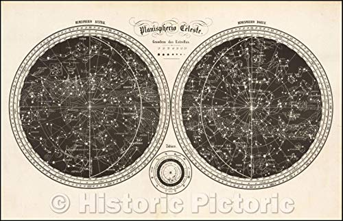 Historic Map | Planisferio C/Double hemisphere Map of the Skies, illustrating the stars and zodiac symbols of the Northern and Southern Hemispheres, 1850 | Vintage Wall Art 68in x 44in