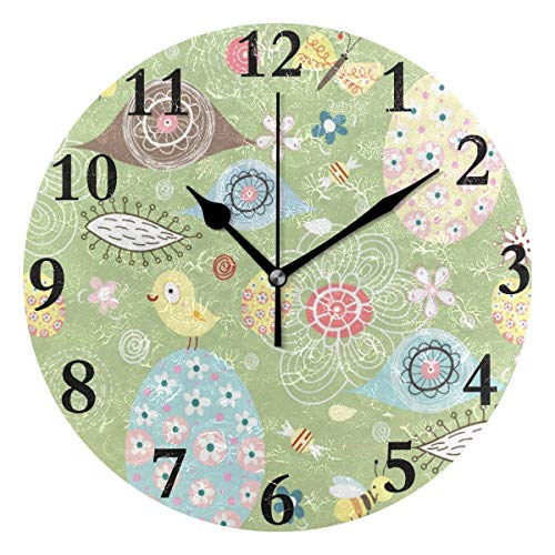 NMCEO Round Wall Clock Cute Floral Flowers Bird Eggs Spring Easter Acrylic Original Clock for Home Decor ()
