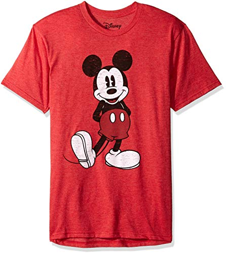 Mickey Mouse Clubhouse Shirt - Disney Men's Full Size Mickey Mouse Distressed Look T-Shirt, Red Heather, Medium