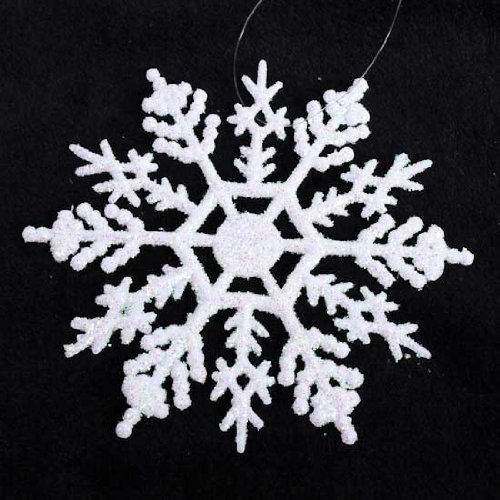 30 White Snowflakes with Pearlized Glitter. Each Snowflake Measures 4