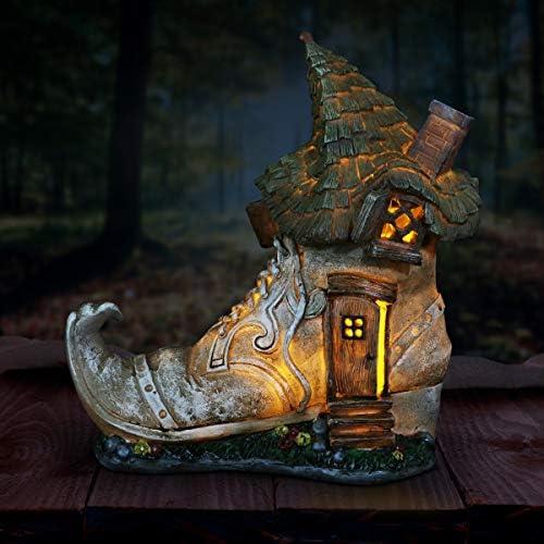 Exhart Gardening Gifts Old Lady Fairy Shoe Garden Statue Miniature Garden Decorations w/Solar Garden Lights