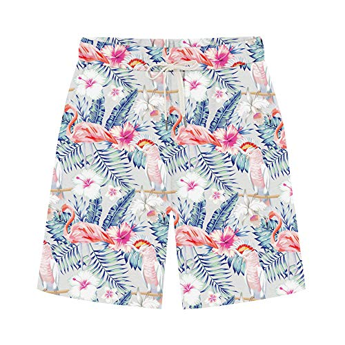 Women's Comfy French Terry Elastic Wasit Knit Jersey Bermuda Shorts with Drawstring Flamingo4 Tag 3XL-US 12-14