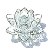 H&D Crystal Lotus Flower with Sparkle Rhinestone Feng Shui Home Decor Glitter Paper Weight Gift-Box (4.1inch, Clear)