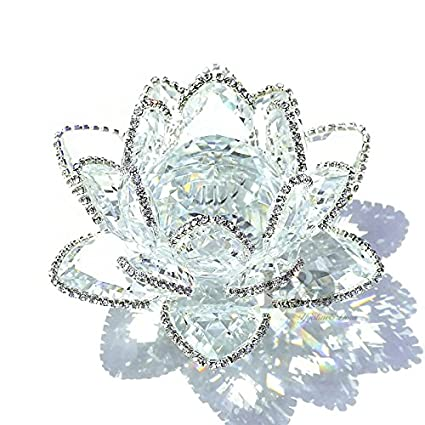 Amazon hd crystal lotus flower figurines with sparkle hd crystal lotus flower figurines with sparkle rhinestone feng shui crystals home decor glitter paper weight mightylinksfo