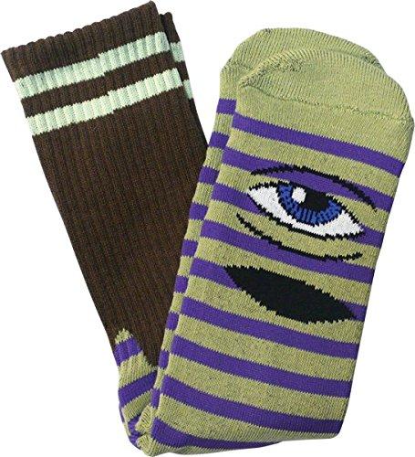 Toy Machine Sect Eye Stripe Crew Socks Green Purple Brn 1 Pair Skate Socks (Toy Machine Sect Eye Socks)
