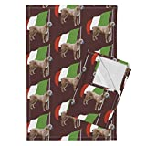 Roostery Italian Tea Towels Cane Corso Wth Italian Flag by Dogdaze Set of 2 Linen Cotton Tea Towels