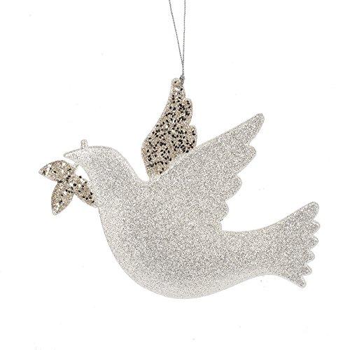 Turtle Dove Olive Branch Silver Glitter 6 x 7.5 Inch Acrylic Christmas Ornament Figurine