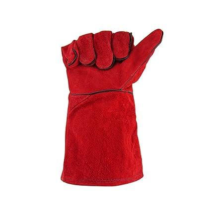 Guantes De Soldador Doble Grueso Rojo Soldadura De Arco De Argón Guantes De Fuego De Alta