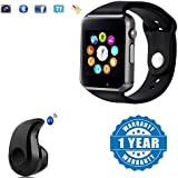 Drumstone A1 Bluetooth Smart Watch Sport SIM Card and TF Card with Camera With S530 Stylish Mini Wireless Bluetooth In-Ear V4.0 Handfree (Black)