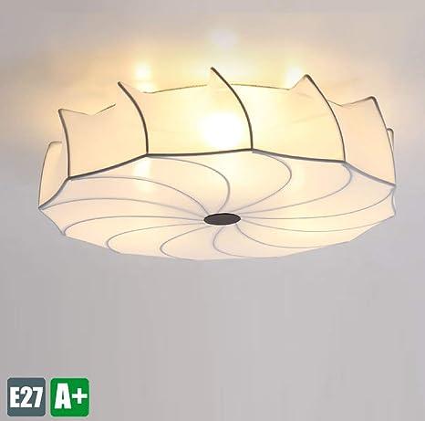 Lámpara de techo moderna Tela blanca Luz de techo de hierro ...