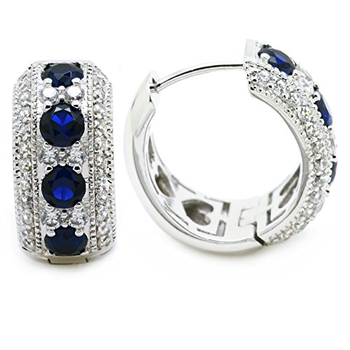 Sparkly Bride Vintage Huggie Hoop Earrings Wide Victorian CZ Women Fashion
