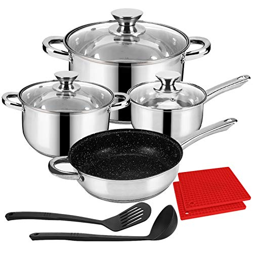 LeFroom Kitchen Stainless Cookware Set 11-Piece Cookware Set Nonstick Pots and Pans Set, Five-layer Structure, Thicken…