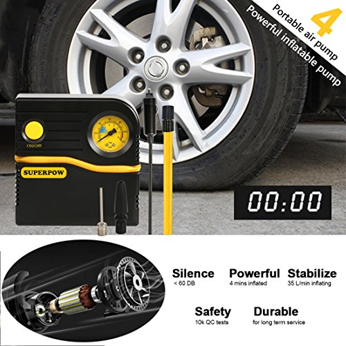 Motorcycle 12V DC Portable Air Compressor for Car Tires with LED Light for Car Auto Shut-Off Balls and Other Inflatable Equipment Tire Inflator BOSONER Portable Air Compressor Pump Bicycle