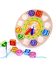 Wooden children early education puzzle color shape cognition pairing numbers piercing beaded clock toys - rabbits