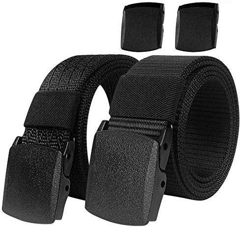 2 Pack Webbing Nylon Belt with Free Buckle IronSeals Military Tactical Web Belt