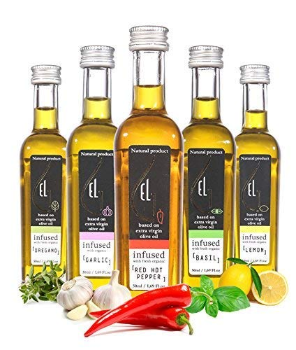 Organic Herbs Infused Greek Extra Virgin Olive Oil, 5 flavors - Basil, Lemon, Garlic, Red Pepper, Oregano in French… 2 ✅ ULTRA-PREMIUM QUALITY - Ultra Premium Extra Vigin finishing olive oil in designer French Fidji glass bottles. Product of Crete, Greece ✅ ORGANICALLY INFUSED - Infused with Fresh Organic Herbs and NOT with essential oils or any artificial flavors. No Solvents, No Pesticides , No Herbicides used in the manufacturing process ✅ UNMATCHED FLAVOR - Rich natural flavor and an increasingly authentic taste and aftertaste, characteristics sustainable over time