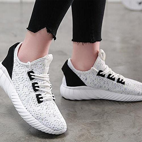 Casual Intrecciate Scarpe da Traspiranti Leggere Corsa ZHONGST Scarpe Sneakers White da Donna zRvZqw7