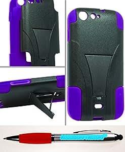 Accessory Factory(TM) Bundle (the item, 2in1 Stylus Point Pen) BLU Life One L120 Hybrid Case w Stand Purple
