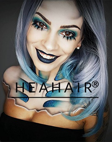 Heahair Ombre Synthetic Lace Front Wig Ombre Blue Synthetic Wig Lace Wig for Woman Ombre Bob wig (Geisha Costume Australia)