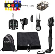 R.HORSE Golf Accessories Gift Set, Retractable Cleaning Brush, Foldable Divot Tool, Golf Ball Line Alignment T