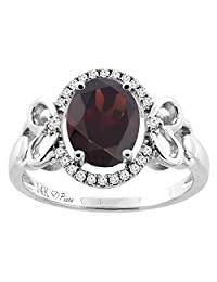 14K Gold Natural Garnet Halo Ring Oval 9x7 mm Diamond & Heart Accents, sizes 5 - 10