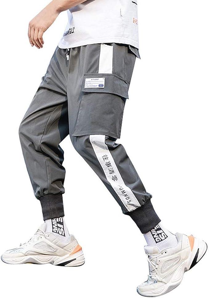 Pantalones Hombre Ocio Moda Running Pants Multi-Bolsillo ...