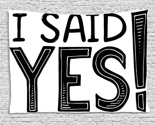 Engagement Party Decorations Tapestry, I Said Yes Quote Striped Letters Announcement Artwork, Wall Hanging for Bedroom Living Room Dorm, 80 W X 60 L Inches, Black and White -