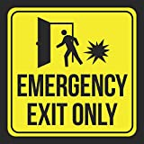 6 Pk Emergency Exit Only Print Yellow Black Person Open Door Caution Notice School Public Office Business Signs, 12x12