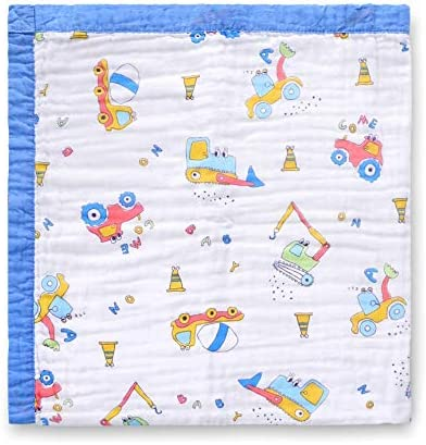 "Jay & Ava Muslin Cotton Baby Blanket for Newborn & Toddler, 4 Layers, Super Soft, Hypoallergenic, Breathable Quilt, Stroller Blanket, Nursery & Crib Blanket, Shower Gift, 42"" x 42"" (Blue Digger)"