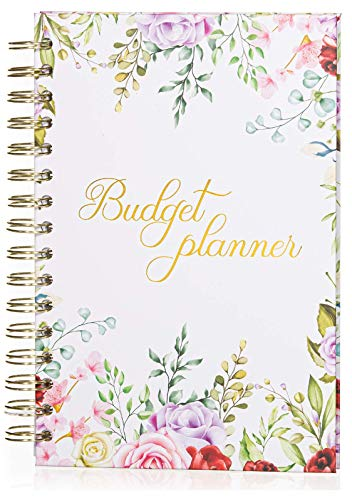 Budget Planner Organizer (Non-Dated) - Monthly Income and Expense Tracker with Back Pocket for Receipts and Bills Bundled with Cash Envelops and Stickers - A5 Size Pink Floral Hardcover
