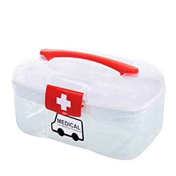 YESCO Lovely Portable Plastic PP Pill Case First Aid Kits Medicine Storage  Box Case Double Deck