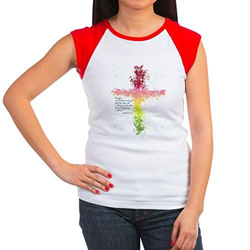 Faith Womens Cap Sleeve T-shirt - Royal Lion Women's Cap Sleeve T-Shirt Christian Faith Bible Prayer Cross - Red/White, S (4-6)